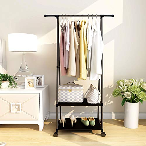KOUDOU Clothes Rails for Bedroom Heavy Duty, Clothes Garment hanging rack with 2-tier Shelves as shoes rack to Storage shoes box for wardrobes, with Wheels, Black