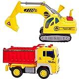 HERSITY Escavatore e Camion Ribaltabile Giocattolo con Luci e Suoni,...