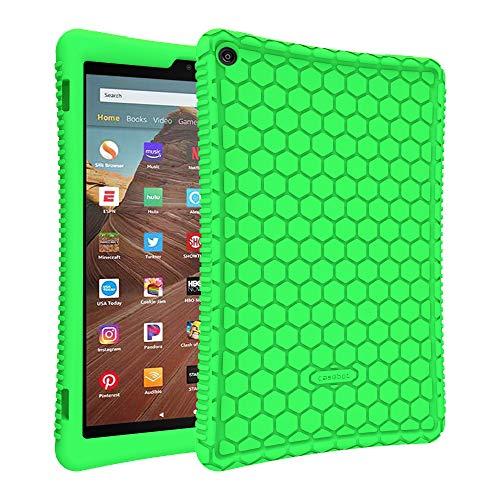 Fintie Silikon Hülle kompatibel mit Amazon Fire HD 10 Tablet (9. & 7. Generation - 2019 & 2017) - Leichte rutschfeste Stoßfeste Silikon Tasche Hülle Kinderfre&liche Schutzhülle, Grün