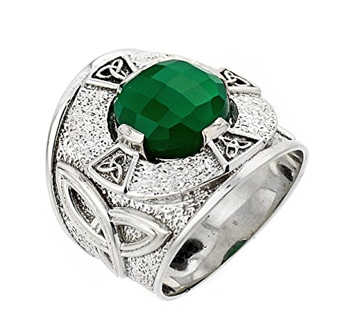 Celtic Rings 925 Sterling Silver Trinity Knot Band Men's with Green Agate (13)