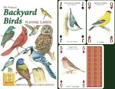 Backyard Birds Standard Poker Playing Card Deck featuring all of yoru favorite garden birds from Cardinal, to Owl and many more by Heritage Playing Card Company