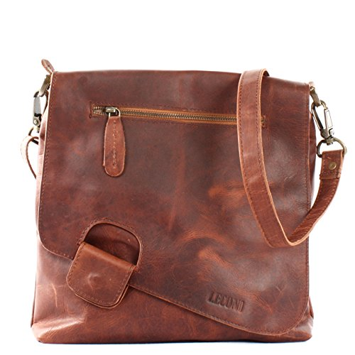 LECONI Umhängetasche Damen-Tasche Crossbag Rinds-Leder Natur Schultertasche Vintage-Look Ledertasche Frauen + Herren Handtasche aus Echt-Leder 29x29x6cm braun LE3027-wax