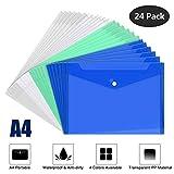 Mutsitaz 24 Piezas Carpeta para Documentos A4 - Carpetas Plástico con Cierre a Presión - para Documentos, Certificados, Recibos (Transparente, Blanco, Verde, Azul)