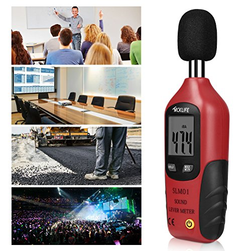 Schallpegelmessgerät, Tacklife SLM01 Klassischer Schallpegelmesser, Lärm Messgerät Datenspeicherfunktion Abschaltautomatik 40~130 dB Rot, LCD-Anzeige, Hintergrundbeleuchtung - 2