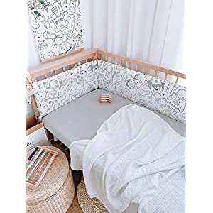 One Piece Boys Girls Crib Bedding Liner Protector Bed Cradle Safety Rail Guard Cover, Padded Bed Protection Sleep Pillow, Head Guard Crib Rail Protector Cover, Nursery Decor Newborn Gift