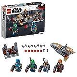 LEGO Star Wars, Coffret de bataille Mandalorien 4 avec 4 figurines, un speeder bike et un fort miniature, 120 pièces, 75267