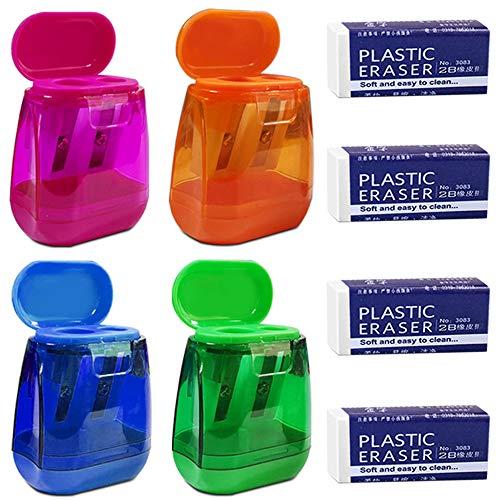 Maxin - Set di 4 temperamatite con 4 gomme da cancellare, con doppio foro colorato, con coperchio e gommini per matite, per scuola, ufficio, forniture