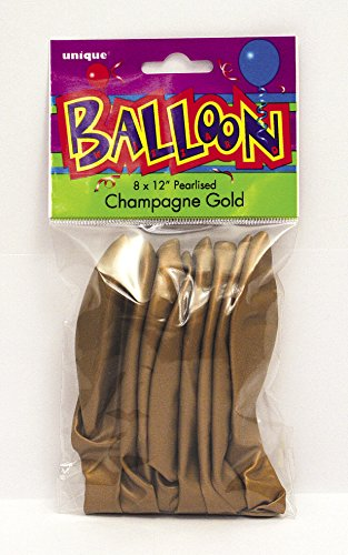 "Unique Party 80082 - 12"" Pearlised Latex Champagne Gold Balloons, Pack of 8"