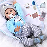 Antboat Muñecas Reborn Bebé Niño 22 Pulgadas 55cm Silicona Suave Vinilo Natural Hecho a Mano Ojo Azul Reborn Niño Juguetes para Bebés Recién Nacidos Reborn Doll