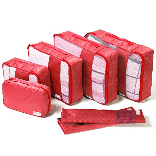 Coolife Packing Cubes Travel Organizers with Laundry Bag 7 Set Hanging Toiletry Bag Portable (red)