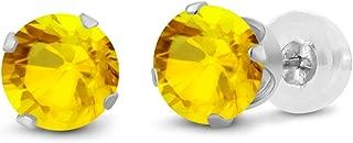 Gem Stone King 14K White Gold Yellow Sapphire Gemstone Stud Earrings (0.72 cttw, 4MM Round)