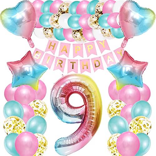 iWheat Globo de 9º cumpleaños rosa, decoración para 9º cumpleaños para niña, globo gigante con el número 9, para niños y niñas