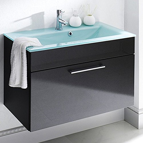 Bathroom Vanity Glass Sink Wall Mounted Espresso Dark Brown LV-1040E