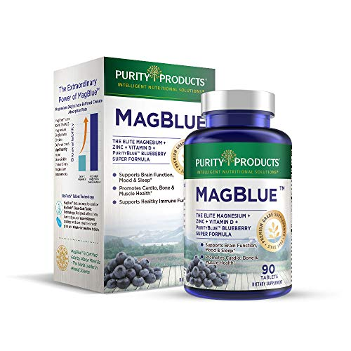 MagBlue by Purity Products - Magnesium Bisglycinate Buffered & More - 90 Tablets