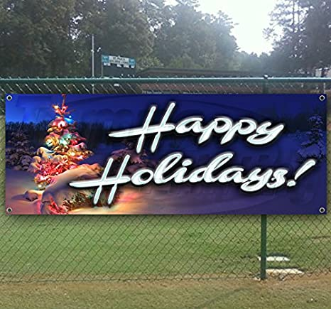 Happy New Year 2021 13 oz Banner Non-Fabric Heavy-Duty Vinyl Single-Sided with Metal Grommets