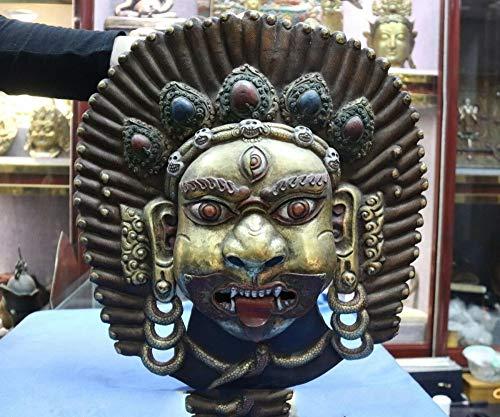 YOUZE Kupfer-Goldvergoldete gemalte Buddha-Kopf-Masken-Statue des Tibet-Buddhismus-Tempels