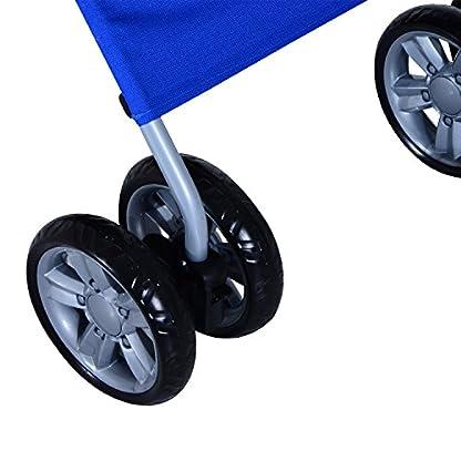 PawHut Pet 4 Wheels Travel Stroller Dog Cat Pushchair Trolley Puppy Jogger Folding Carrier (Blue) 9