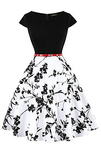 MisShow Damen Rockabilly Petticoat Kleider Audrey Hepburn Vintage Kleid Rund-Ausschnitt Kurz Arm Festliches Kleid Geblühmt