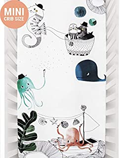 Mini Crib Sheets by Rookie Humans: 100% Cotton Sateen. Complements Modern Nursery Room, Use as a Photo Background for Your Baby Pictures. Fits Mini Crib Size (38x24 inches) (Underwater Love)