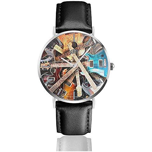 Reloj de Cuero Guitarra eléctrica Pintura Plateado Reloj de Acero Inoxidable Relojes...