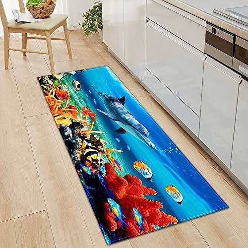 HLXX Alfombra de Pescado 3D Alfombra de Cocina Alfombra de Puerta Decoración de Piso de Dormitorio Alfombra de Sala de Estar Pasillo de baño Balcón Alfombra Antideslizante A13 60x180cm