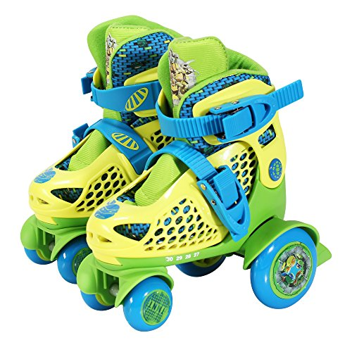 PlayWheels Teenage Mutant Ninja Turtles Kids Big Wheel Quad Roller Skates, Junior Size 6-9