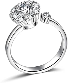 TZMY01 Rotate 3 Carat Round Cut Cubic Zirconia 925 Sterling Silver Women Wedding Engagement Rings Anniversary Wedding Bands for Lady Girl