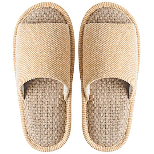 KGDC Lino Pantuflas Zapatillas de algodón y Lino Zapatillas cómodo Antideslizante Cubierta del Dedo del pie Abierto Zapatillas Unisex (Color : Yellow, Size : Sole Length 28.5cm)