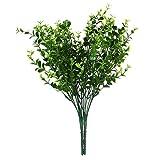 2 x grün Künstliche Kunststoff Kleine Blätter Pflanze 7 Filialen Eukalyptus Gras für Hause Hochzeit Dekor