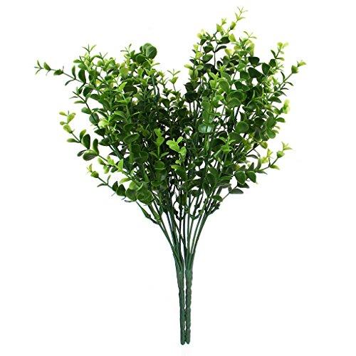2x Künstliche Pflanzen, Kunststoff, Eukalyptus, 7Zweige, für Heim-Dekoration, Grün, kleine Blätter, grün, Small leaves