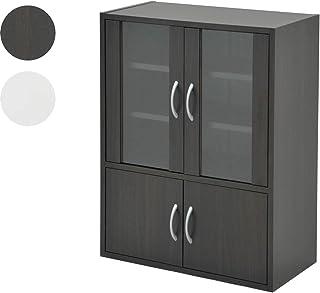 山善(YAMAZEN) 食器棚 ダークブラウン 幅60高さ80cm ロータイプ マグネット式 棚板可動 食器 キッチン 収納 CCB-8060(DBR)