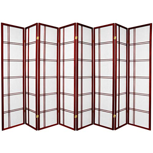 Oriental Furniture Oversize Commercial Size Room Dividers, 6-Feet Double Cross Folding Shoji Privacy Floor Screen, 8 Panel Rosewood...