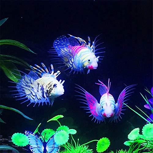 Aquarium Wasserpflanzen Glow In The Dark Artificial Aquarium Rotfeuerfisch Ornament Aquarium Quallen Coral Verzierungen für Fish Tank (Farbe : Orange, Size : Free Size)