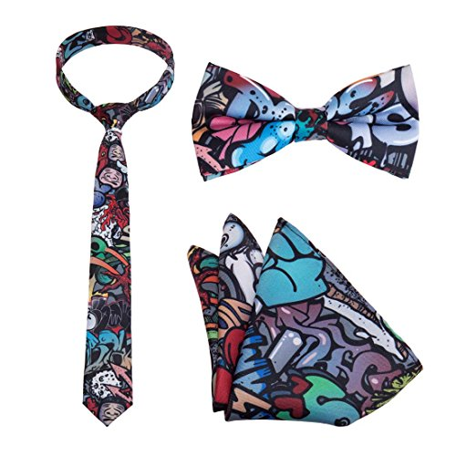 Bundle Monster Mens 3pc Multicolor Design Necktie Bow Tie Pocket Square Matching Fashion Accessories - Set 6: Media