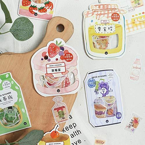 BLOUR 40 unids/Lote Kawaii Frutas Snack Washi Papel Adhesivo Conjunto Lindo Fresa papelería Pegatinas DIY Etiqueta Decorativa para álbum de Recortes