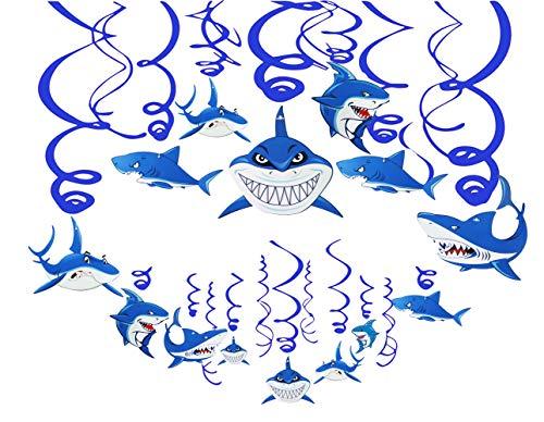 30PCS Shark Hanging Swirls Decorations - Summer Under the Sea Baby Shark Birthday Party Favor Supplies
