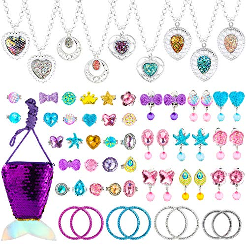 WATINC 62Pcs Mermaid Princess Pretend Jewelry Set Dress Up Jewellery Play Set for Little Girls Toddlers Included Necklaces Rings Earrings Bracelets Sequin Handbag for Girl Princess Dress-up Party