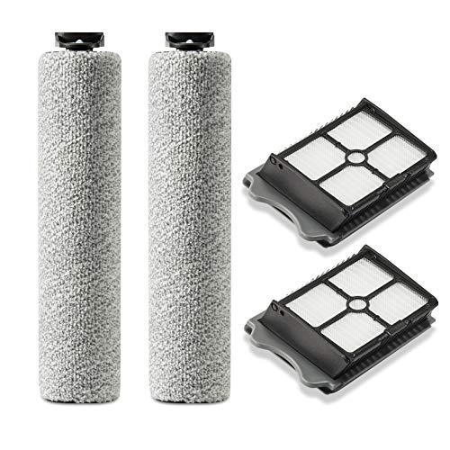 Supremery 2X Ersatzfilter 2X Bürstenrolle für Tineco Floor ONE S3 und iFloor 3 - Hepa Filter Rolle Bürste Ersatzrolle Ersatzbürste Zubehör Set für Tineco Nass-und Trockensauger