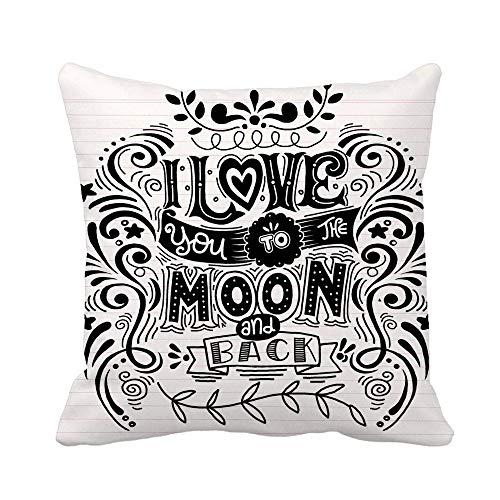 N\A Throw Pillow Cover I Love You to The Moon and Back Funda de Almohada romántica Funda de Almohada Cuadrada Decorativa para el hogar Funda de cojín