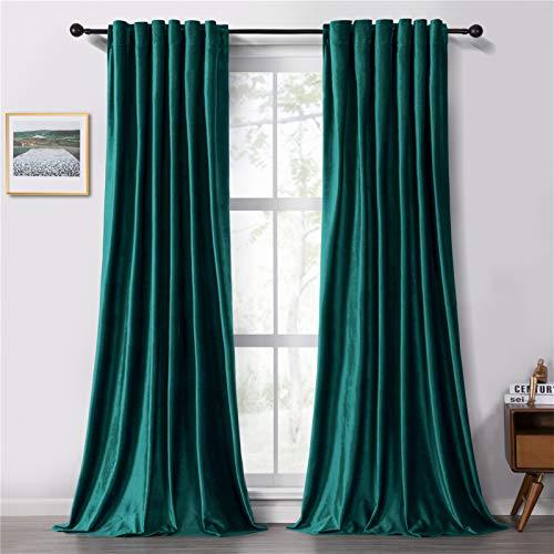 Topfinel Room Darkening Velvet Curtains 84 Inches Long Rod Pocket Back Tab Drapes for Bedroom Living Room, 2 Panels, Teal Green