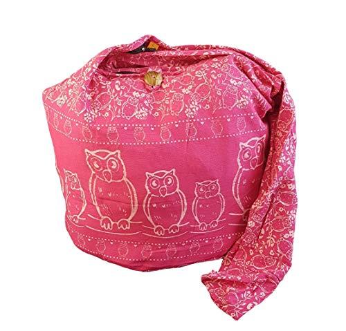 BTP! Schultertasche / Umhängetasche, Eulen-Design, Hippie-/Boho-Stil, groß, Pink (Pink Of5), Large