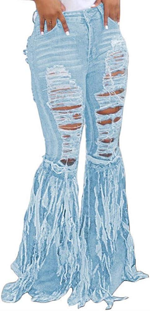 Kabxryaclo Womens Bell Bottom Jeans Ripped Fringe Mop Tassel Fancy Solid Denim Flared Pants