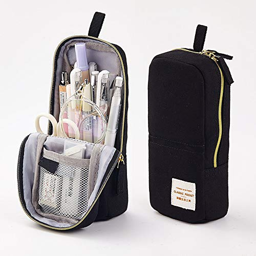 Wangyiqian Mini Backpack Pencil Pen Case Canvas Stand Up Phone Holder Large Capacity Cosmetic Bag Pouch for Girls Boys Adults Teen Black