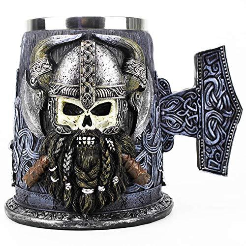 YUESUO Taza de Halloween, Taza Jarra con Inserto de Acero Inoxidable cráneo de la Resina de Viking café Tazas de Cerveza Copa Mejor Regalo de cumpleaños 600ml
