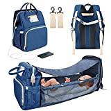3 in 1 Travel Bassinet Foldable Baby Bed Portable Diaper Changing Station Mummy Bag Backpack Blue