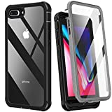 Krichit Rugged Clear Designed for iPhone 7 Plus Case and iPhone 8 Plus Case, Slim Full-Body Stylish Protective Case with Built-in Screen Protector 5.5 inch (Clear Black)