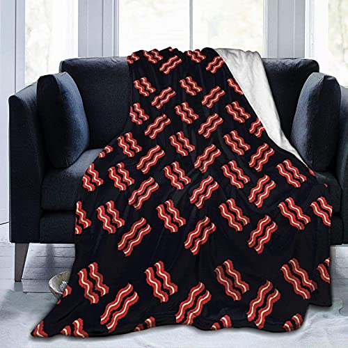 Delicious Bacon Flannel Fleece Throw Blanket Lightweight Cozy Plush fit Couch Sofa
