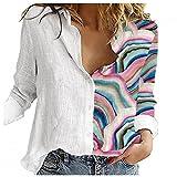 Camisa Mujer SHOBDW Liquidación 3D Vistoso Estampado Empalme Casual Camisa Formal Suelto Pullover Tops Botones Cuello V Talla Grande Otoño e Invierno(Blanco,L)