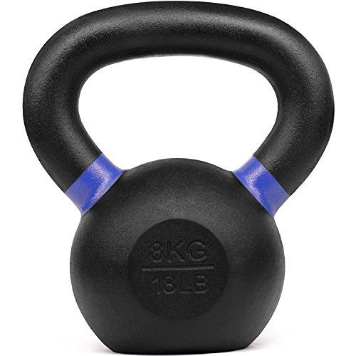 Yes4All Powder Coated Kettlebell Weights with Wide Handles & Flat Bottoms – 8kg/18lbs Cast Iron Kettlebells for Strength, Conditioning & Cross-Training (WTGA)