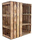 Kontorei® geflammter/gebrannter/brauner Unterbau für Schreibtisch (Links) 1er Set Holzkiste; Kiste Holzschreibtisch modern rustikal